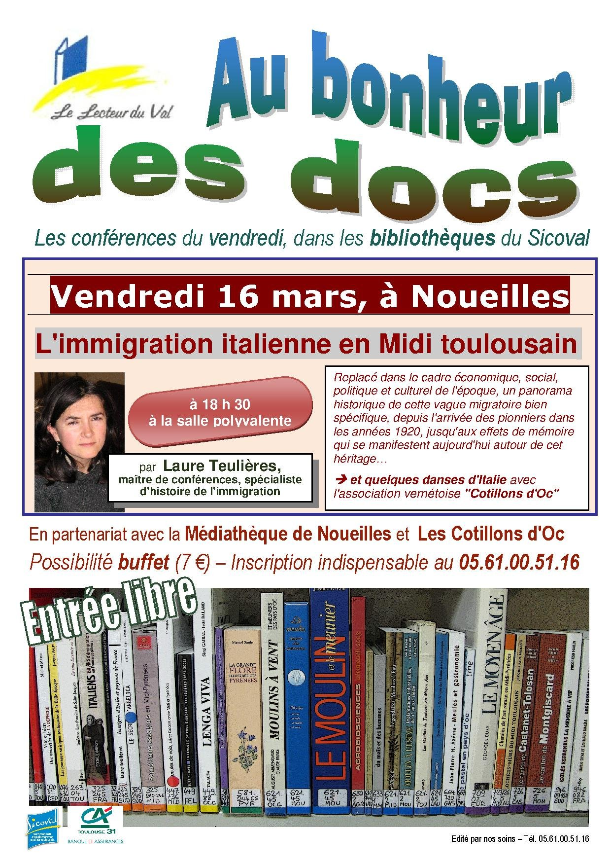 Conférence sur l'immigration italienne en Midi toulousain, le 16 mars à Noueilles
